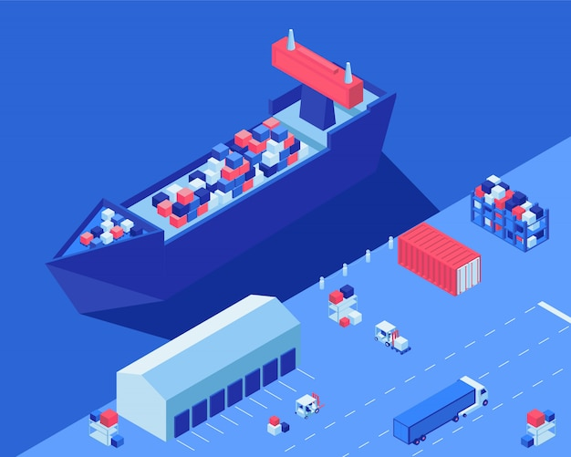 Vrachtschip die isometrische vectorillustratie leegmaken. verzending distributievervoer, vorkheftrucks en vrachtwagen met lading op logistieke hub