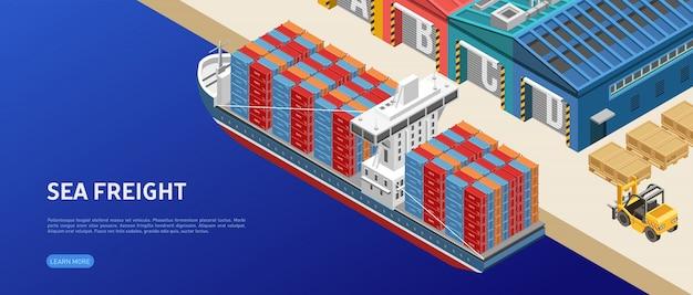 Vrachtschip in de buurt van havenmagazijnen