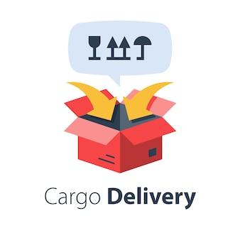 Vrachtverpakking en -distributie, relocatiediensten, vrachtvervoer, vrachtverzending, bezorgbedrijf, vlakke afbeelding
