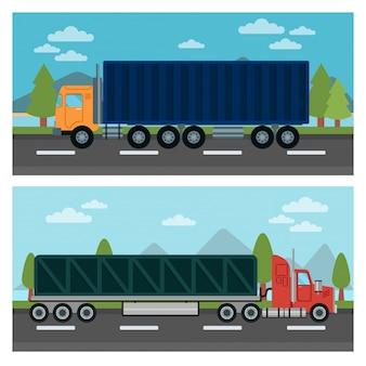 Vrachtvervoer. vrachtwagen en aanhanger. bestelwagens. logistiek transport. wijze van vervoer. vrachtwagen. vector illustratie. vlakke stijl