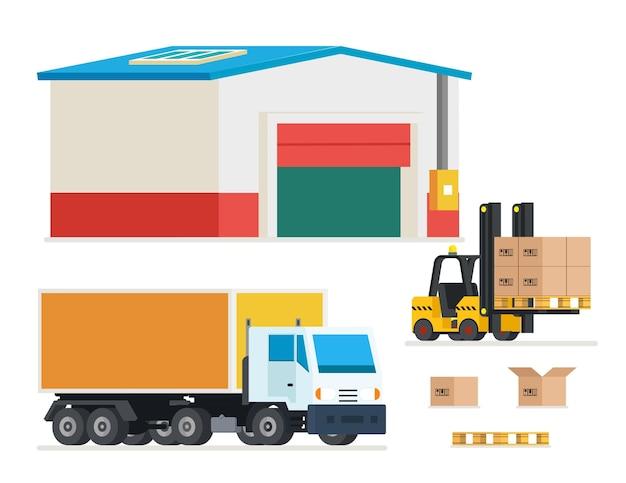 Vrachtvervoer. vrachtwagens laden en lossen. transport en distributie, magazijn, koopwaar, illustratie