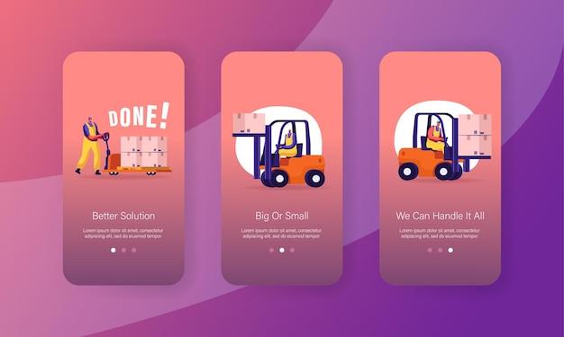 Vrachtverzending, levering en logistiek mobiele app-pagina schermset aan boord.
