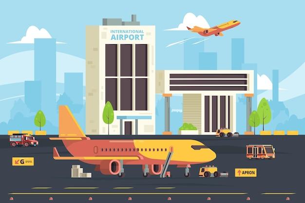 Vrachtvliegtuig op landingsbaan. magazijnvliegtuigen voorbereiding hangar luchthaven vrachtvliegtuigen platte achtergrond.