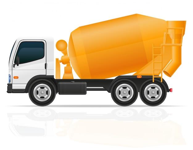 Vrachtwagen concrete mixer voor bouw vectorillustratie