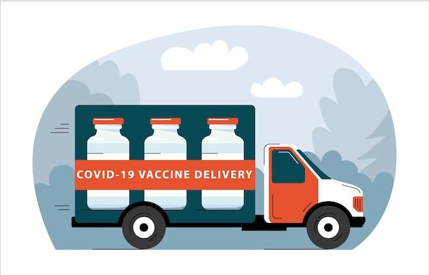 Vrachtwagen die covid19-vaccin levert aan vaccinatiecentra wereldwijd distributie en levering