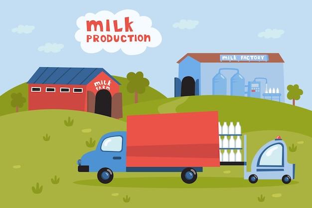 Vrachtwagen die melk van boerderijillustratie opneemt. heftruck flessen melk in auto laden, zuivelproducten transport, melkfabriek. melkproductie, zuivel, industrie, voedselconcept
