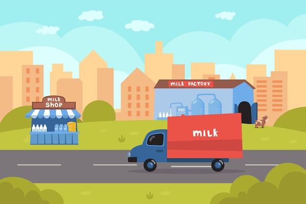 Vrachtwagen die melk van fabrieksillustratie levert. transport op zuivelproducten, melkwinkel, koe, stad en gebouwen. melkproductie, zuivelproducten, voeding, industrieconcept