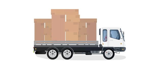 Vrachtwagen draagt dozen illustratie