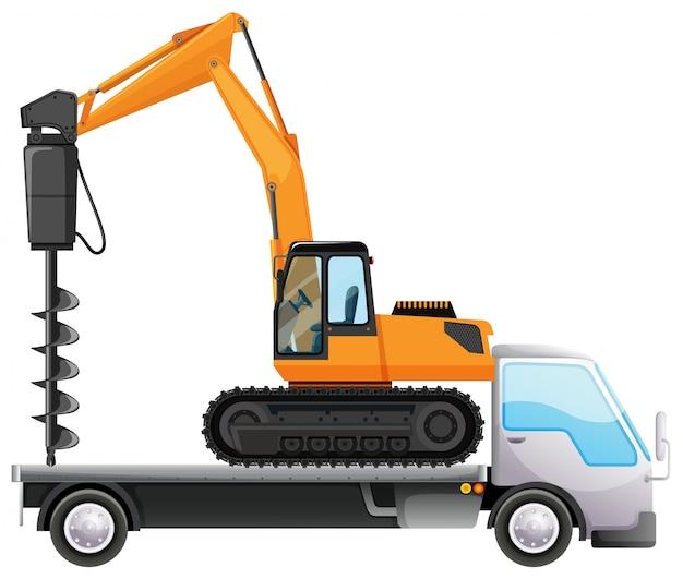 Vrachtwagen dragende boor op geïsoleerd