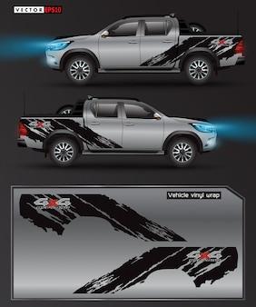 Vrachtwagen en auto grafische illustratie