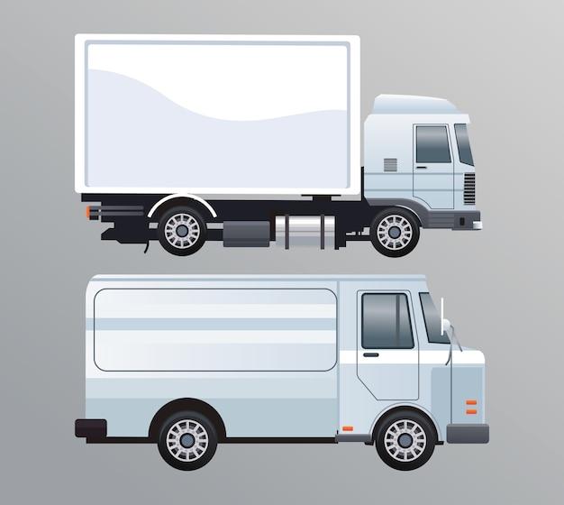 Vrachtwagen en bestelwagen witte branding geïsoleerde pictogram