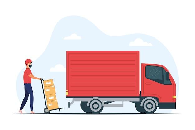 Vrachtwagen en bezorgservice werknemer medisch masker met dozen in winkelwagen afbeelding ontwerp dragen Premium Vector