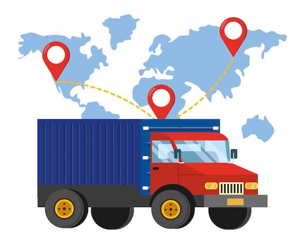 Vrachtwagen en kaart illustratie