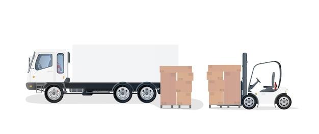 Vrachtwagen en pallet met kartonnen dozen. vorkheftruck heft de pallet op. industriële heftruck. kartonnen dozen.