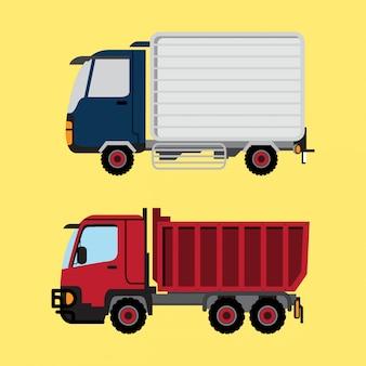 Vrachtwagen en rode vrachtwagen