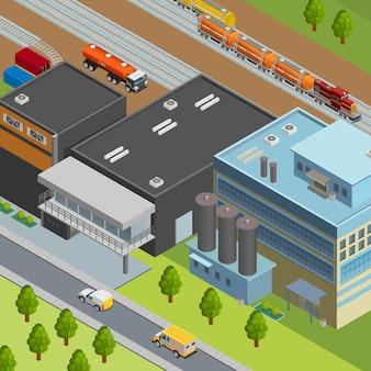 Vrachtwagen en trein voor olietransport dichtbij 3d isometrische raffinaderij