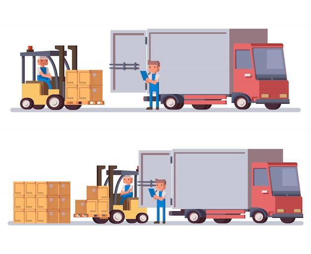 Vrachtwagen en vorkheftruck laden in vlakke stijl