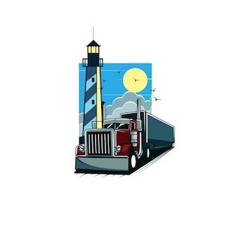 Vrachtwagen en vuurtoren