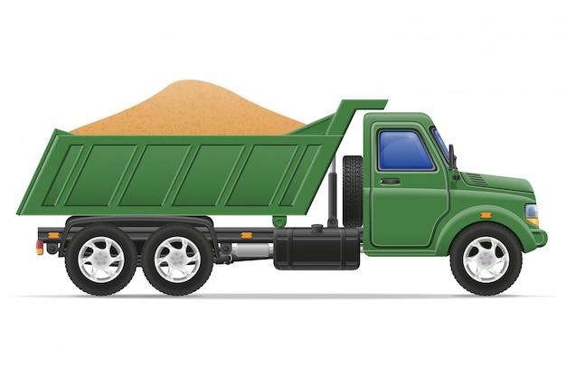 Vrachtwagen levering en transport van bouwmaterialen concept vectorillustratie