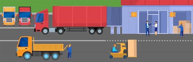 Vrachtwagen levering logistiek aan magazijn opslag faciliteit, mensen werken in de vrachtindustrie, illustratie
