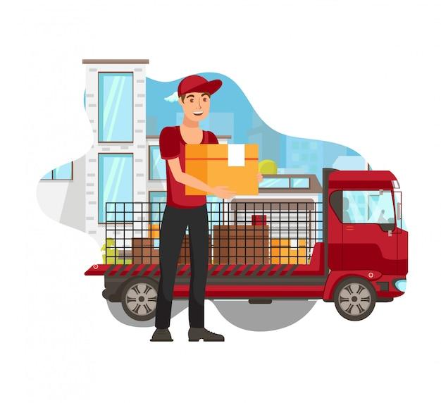 Vrachtwagen levering service platte vectorillustratie