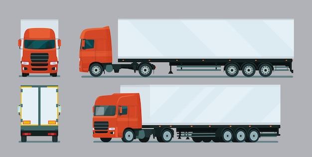 Vrachtwagen met aanhanger vier hoekset