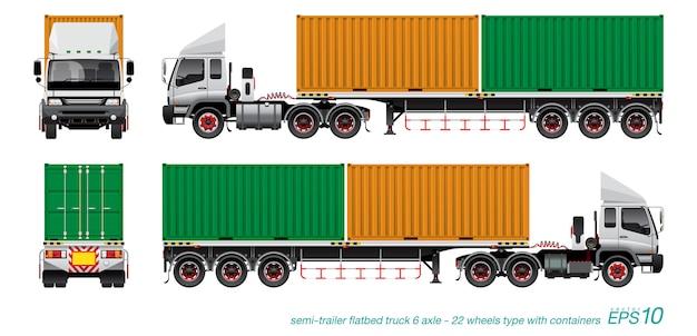 Vrachtwagen met aanhanger