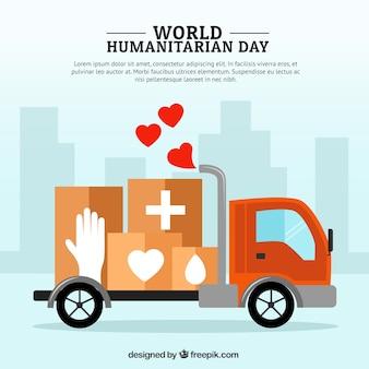 Vrachtwagen met dozen medische humanitaire achtergrond