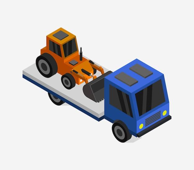 Vrachtwagen met isometrische graafmachine