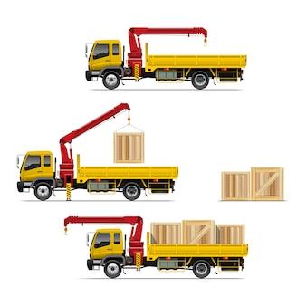 Vrachtwagen met kraan vastgestelde illustratie