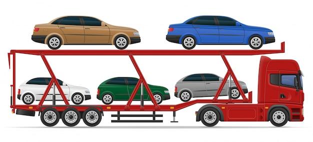 Vrachtwagen oplegger voor vervoer van auto concept vectorillustratie