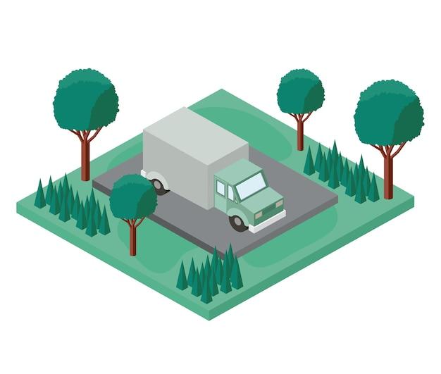 Vrachtwagen parkeren en bomen scène isometrische pictogram