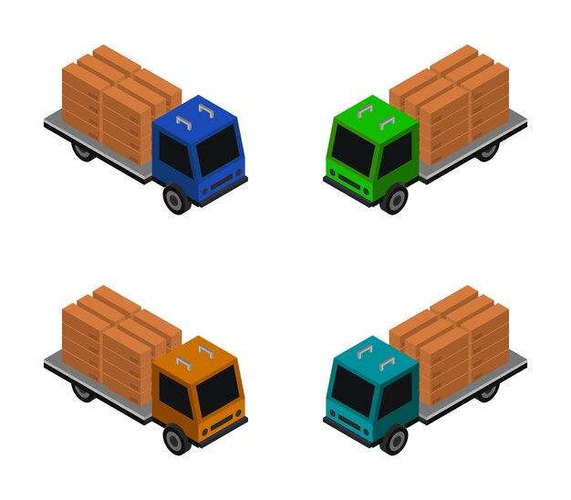 Vrachtwagen set met isometrische doos