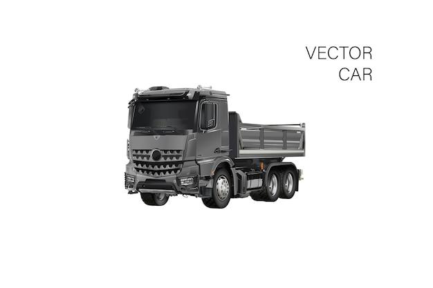 Vrachtwagen sjabloon geïsoleerd op wit. beschikbaar gescheiden door groepen en lagen. vrachtwagen illustratie realistische auto