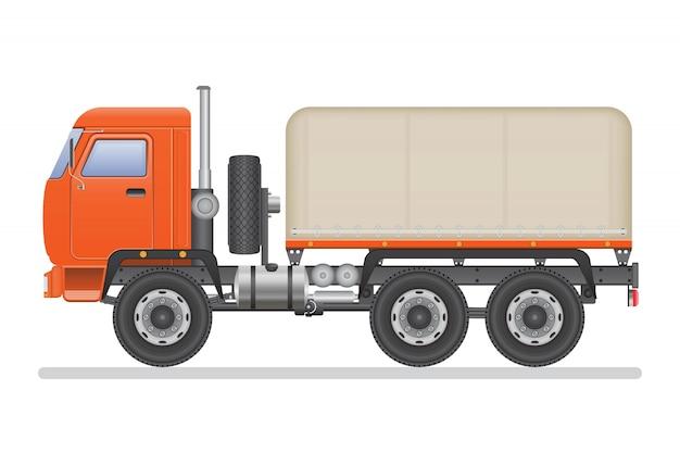 Vrachtwagen vectordieillustratie op wit wordt geïsoleerd