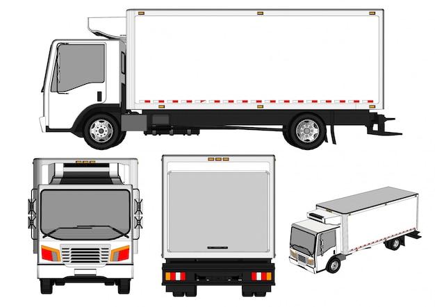 Vrachtwagen verschillende weergaven en zijkanten
