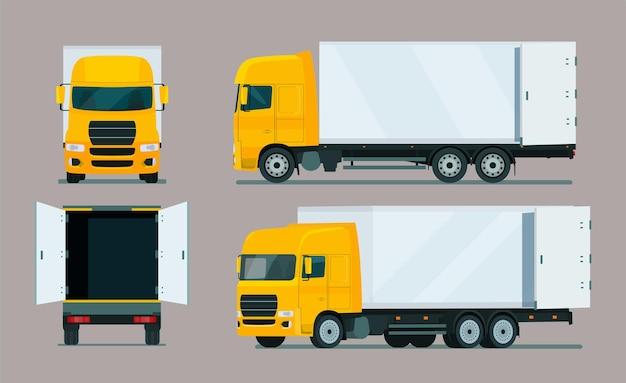 Vrachtwagen vier hoek set geïsoleerd op paars