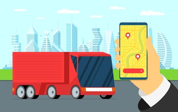 Vrachtwagenaanhangwagen logistieke volgservice handtelefoon met scheepvaartnavigator op stadsplattegrond