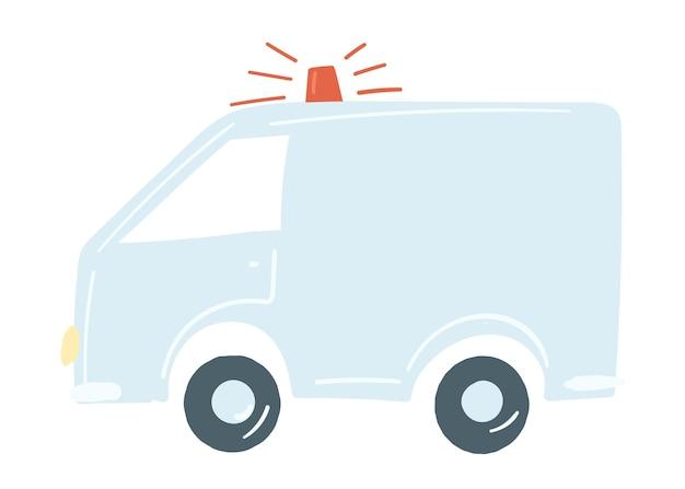 Vrachtwagenbestelwagen in blauwe geïsoleerde auto met sirene noodauto hand getrokken cartoon stijl vectorillustratie