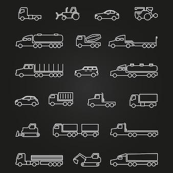 Vrachtwagens, auto's, machines lijn iconen van set