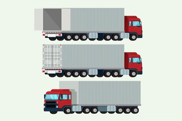 Vrachtwagens containervervoer verzending lading. illustratie vector