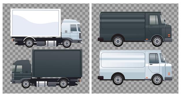 Vrachtwagens en bestelwagens zwart-witte kleuren branding mockup