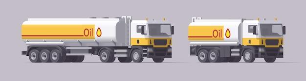 Vrachtwagens ingesteld. oil ruck & semi-vrachtwagen met olietanktrailer. geïsoleerde europese trekkers met aanhangwagens op lichte achtergrond.