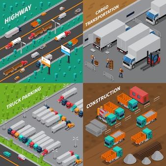 Vrachtwagens isometrisch ontwerpconcept