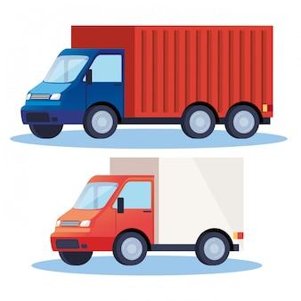 Vrachtwagens levering dienst voertuigen pictogrammen illustratie ontwerp