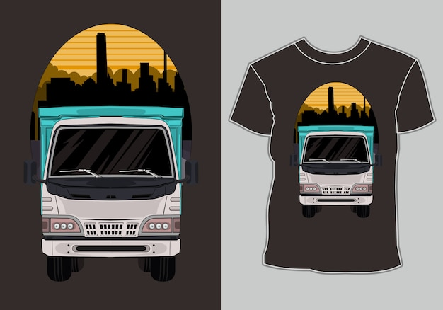 Vrachtwagent-shirt met kunstwerkvrachtwagen in stad