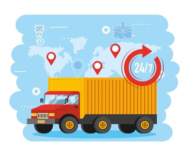 Vrachtwagentransport met globale kaart- en locatietekens