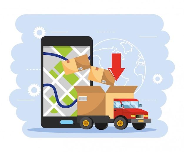 Vrachtwagenvervoer met doospakket en smartphonegps kaart