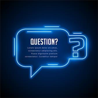 Vragen neon stijl achtergrond met tekst ruimte