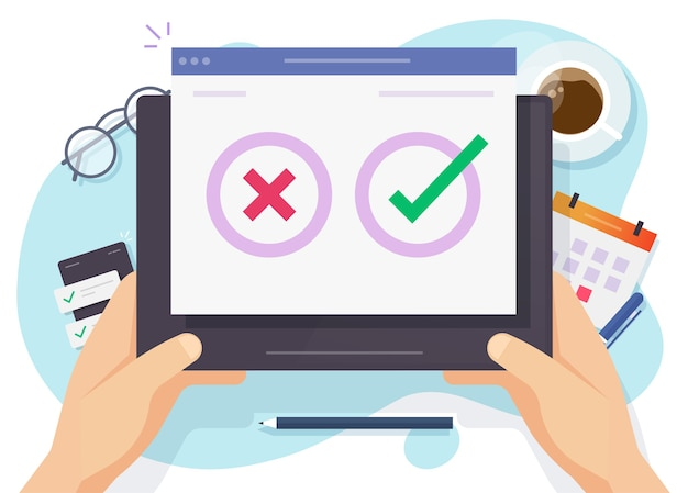 Vragenlijst enquête poll stemming digitale quiz online tablet, concept van persoon die ja nee antwoord kiest